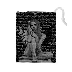 Angel Drawstring Pouches (large)  by Valentinaart