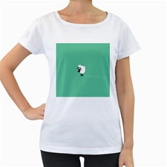 Sheep Trails Curly Minimalism Women s Loose Fit T Shirt (white)