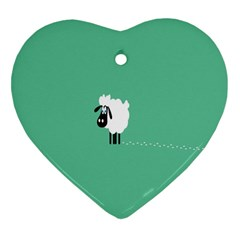 Sheep Trails Curly Minimalism Heart Ornament (two Sides) by Simbadda