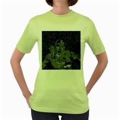 Angel  Women s Green T Shirt by Valentinaart
