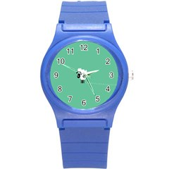 Sheep Trails Curly Minimalism Round Plastic Sport Watch (s) by Simbadda