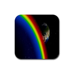 Rainbow Earth Outer Space Fantasy Carmen Image Rubber Coaster (square)  by Simbadda