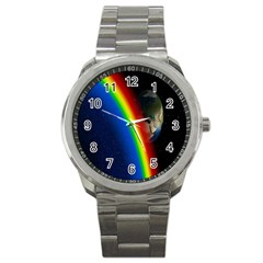 Rainbow Earth Outer Space Fantasy Carmen Image Sport Metal Watch by Simbadda