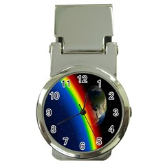 Rainbow Earth Outer Space Fantasy Carmen Image Money Clip Watches by Simbadda