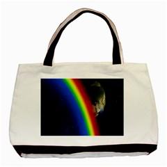 Rainbow Earth Outer Space Fantasy Carmen Image Basic Tote Bag by Simbadda