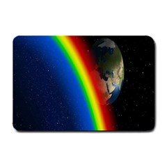 Rainbow Earth Outer Space Fantasy Carmen Image Small Doormat  by Simbadda