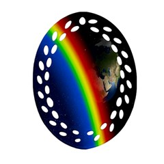 Rainbow Earth Outer Space Fantasy Carmen Image Oval Filigree Ornament (two Sides) by Simbadda