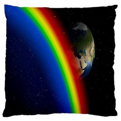 Rainbow Earth Outer Space Fantasy Carmen Image Large Cushion Case (one Side) by Simbadda