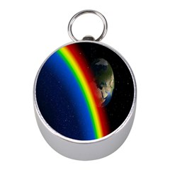 Rainbow Earth Outer Space Fantasy Carmen Image Mini Silver Compasses by Simbadda