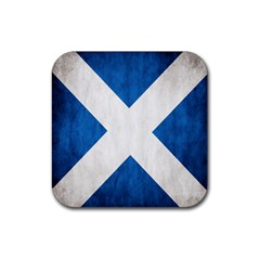 Scotland Flag Surface Texture Color Symbolism Rubber Square Coaster (4 Pack)  by Simbadda