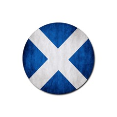 Scotland Flag Surface Texture Color Symbolism Rubber Coaster (round)  by Simbadda