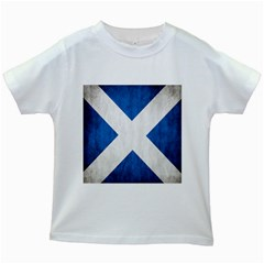Scotland Flag Surface Texture Color Symbolism Kids White T Shirts by Simbadda
