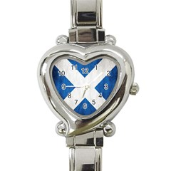 Scotland Flag Surface Texture Color Symbolism Heart Italian Charm Watch by Simbadda