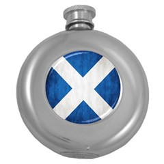 Scotland Flag Surface Texture Color Symbolism Round Hip Flask (5 Oz) by Simbadda
