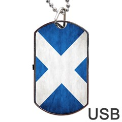 Scotland Flag Surface Texture Color Symbolism Dog Tag Usb Flash (two Sides) by Simbadda
