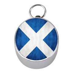 Scotland Flag Surface Texture Color Symbolism Mini Silver Compasses by Simbadda