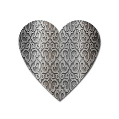 Patterns Wavy Background Texture Metal Silver Heart Magnet by Simbadda