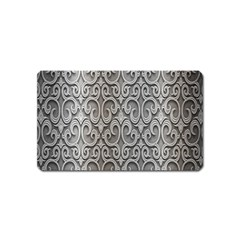 Patterns Wavy Background Texture Metal Silver Magnet (name Card) by Simbadda