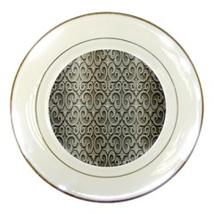Patterns Wavy Background Texture Metal Silver Porcelain Plates by Simbadda