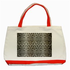 Patterns Wavy Background Texture Metal Silver Classic Tote Bag (red) by Simbadda