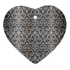 Patterns Wavy Background Texture Metal Silver Heart Ornament (two Sides) by Simbadda
