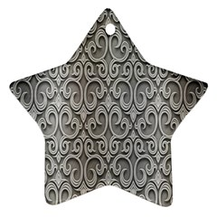 Patterns Wavy Background Texture Metal Silver Star Ornament (two Sides) by Simbadda