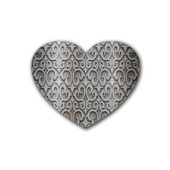 Patterns Wavy Background Texture Metal Silver Rubber Coaster (heart)  by Simbadda