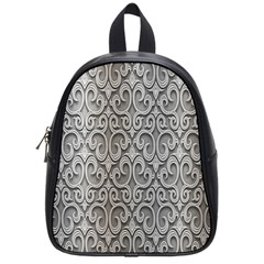 Patterns Wavy Background Texture Metal Silver School Bags (small)  by Simbadda