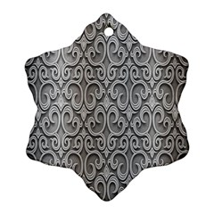 Patterns Wavy Background Texture Metal Silver Snowflake Ornament (two Sides) by Simbadda