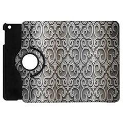 Patterns Wavy Background Texture Metal Silver Apple Ipad Mini Flip 360 Case by Simbadda