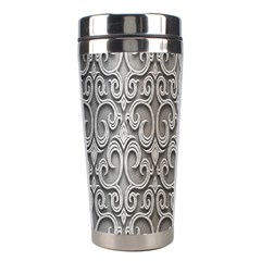 Patterns Wavy Background Texture Metal Silver Stainless Steel Travel Tumblers by Simbadda