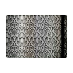 Patterns Wavy Background Texture Metal Silver Ipad Mini 2 Flip Cases by Simbadda