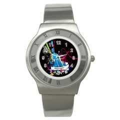 Sneakers Shoes Patterns Bright Stainless Steel Watch by Simbadda