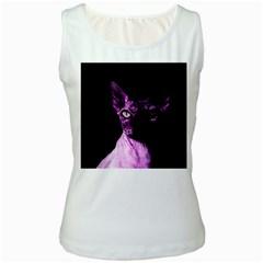 Pink Sphynx Cat Women s White Tank Top by Valentinaart