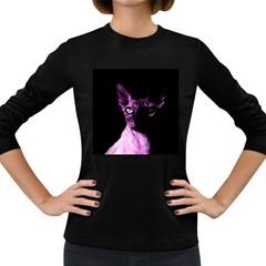 Pink Sphynx Cat Women s Long Sleeve Dark T Shirts by Valentinaart