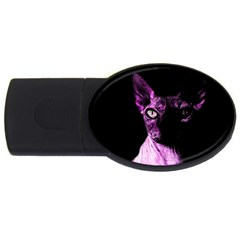 Pink Sphynx Cat Usb Flash Drive Oval (4 Gb) by Valentinaart
