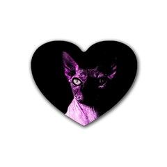 Pink Sphynx Cat Rubber Coaster (heart)  by Valentinaart