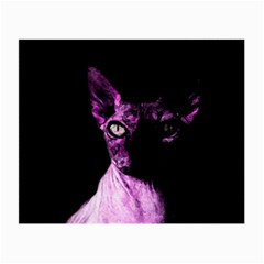 Pink Sphynx Cat Small Glasses Cloth (2 Side) by Valentinaart