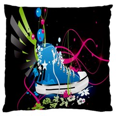 Sneakers Shoes Patterns Bright Large Cushion Case (one Side) by Simbadda