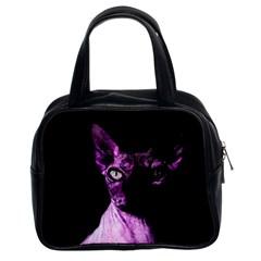 Pink Sphynx Cat Classic Handbags (2 Sides) by Valentinaart