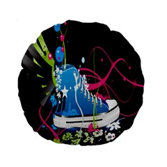 Sneakers Shoes Patterns Bright Standard 15  Premium Round Cushions by Simbadda