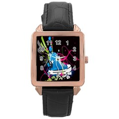 Sneakers Shoes Patterns Bright Rose Gold Leather Watch  by Simbadda