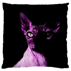 Pink Sphynx Cat Large Cushion Case (two Sides) by Valentinaart