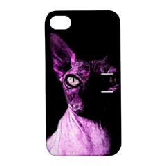 Pink Sphynx Cat Apple Iphone 4/4s Hardshell Case With Stand by Valentinaart