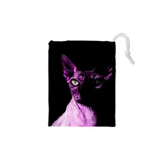 Pink Sphynx Cat Drawstring Pouches (xs)  by Valentinaart