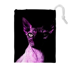 Pink Sphynx Cat Drawstring Pouches (extra Large) by Valentinaart