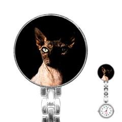 Sphynx Cat Stainless Steel Nurses Watch by Valentinaart