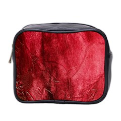 Red Background Texture Mini Toiletries Bag 2 Side by Simbadda