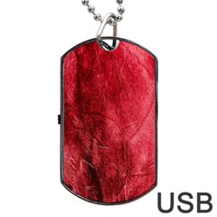 Red Background Texture Dog Tag Usb Flash (two Sides) by Simbadda