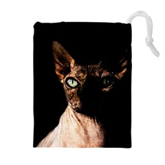 Sphynx Cat Drawstring Pouches (extra Large) by Valentinaart